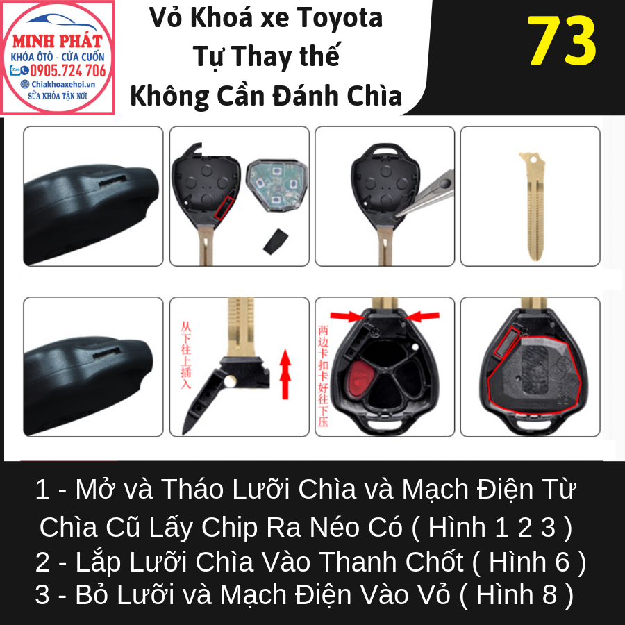 Vỏ chìa khoá xe Ô Tô Toyota Camry 2012