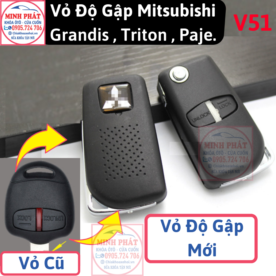 thay vỏ remote xe Mitsubishi tại Đà Nẵng